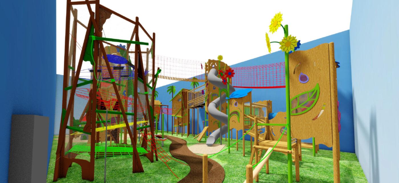 Vnitřní hřiště pro zahradní centrum